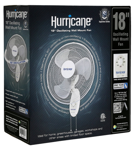 Hurricane® Supreme Oscillating Wall Mount Fan 18 in