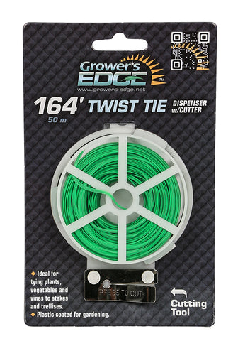 Grower's Edge Green Twist Tie Dispenser w/ Cutter - 164 ft