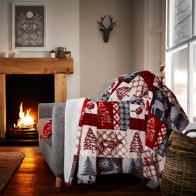 Christmas Patchwork Sherpa Fleece Throw