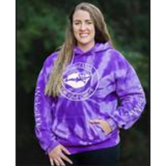 Wicked Purple Tie- Dye Hoodie Get a little wicked in this tie-dye throwback look that is colorful and comfortable. This hoodie is hand-dyed for a vibrant look. The tie-dye preocess infuses each hoodie with unique character. There will be slight color variation for each hoodie. • 7.8-ounce, 80/20 cotton/polyester • Two-ply hood • Dyed-to-match drawcords • Fron pouch pocket • Machine wash cold, inside out with like colors, only non-chlorine bleach when needed,. Tumble dry. Do not iron. • Unisex size