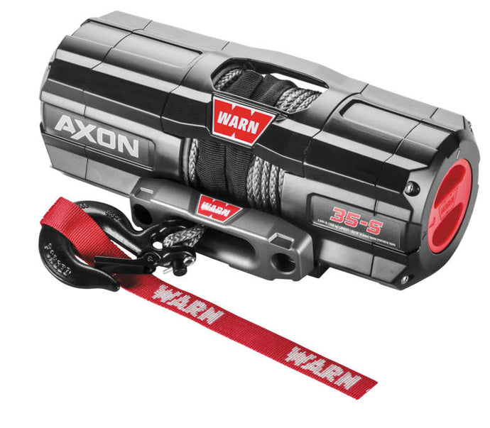 WARN AXON 3500-S Winch with Synthetic Rope The AXON™ lineup takes winching to the next level by combining a powerful motor and an all new first-of-its-kind, digital contactor into one unit called a Motactor™. This combined unit provides the user with higher levels of performance and feedback. All-metal construction, waterproof-sealing and increased structural rigidity, designed for the most extreme environments.
