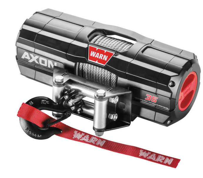 WARN AXON 3500 Winch with Wire Rope The AXON™ lineup takes winching to the next level by combining a powerful motor and an all new first-of-its-kind, digital contactor into one unit called a Motactor™. This combined unit provides the user with higher levels of performance and feedback. All-metal construction, waterproof-sealing and increased structural rigidity, designed for the most extreme environments.