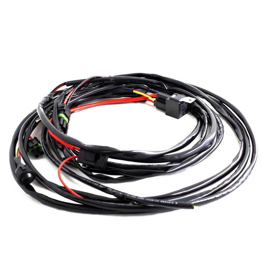Squadron/S2 Off/On Wire Harness-2 lights max 150 watts This universal 12v wiring harness is capable of powering up to 12 amps and has been specifically designed for our Fuego, PreRunner, LaPaz, Squadron and SII. It includes an On/Off toggle button to provide power to the lights. This harness comes ready to power up to two (2) Baja Designs LED/HID lights listed above.