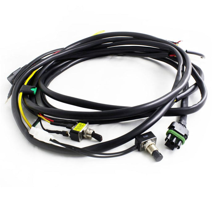 Baja Designs XL/OnX6 Hi-Power Wire Harness w/Mode-2 lights This harness takes all the guess work out of installation and is incredibly high quality suited for race use! This harness allows you to use the high beam or toggle switch to turn on the LED light. •	Includes Toggle switch for On/Off and toggle button for dim mode. •	Heavy duty wire gauge. •	Complete with battery ring terminals, relay, sheathing, fuse. •	100