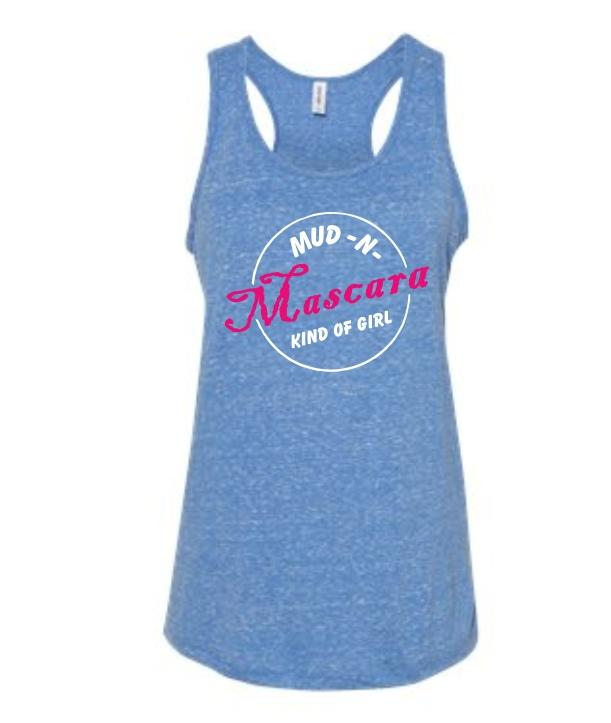 Stay cool in the all new Mud N Mascara pre-shrunk jersey racer back tank!  This tank is so comfy and the pink and white Mud N Mascara logo pops on the royal blue heather tank!  5.2 oz. 88/12 polyester/ringspun cotton Pre-Shrunk Racerback styling Longer length body Curved, drop tail hem Available in Small to 2X-Large