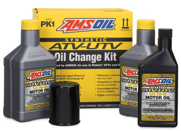 POLARIS OIL CHANGE KIT for UTVs and Side by Side This kit contains everything needed to perform an AMSOIL oil change on your RZR.  Contains: 2.5 quarts of AMSOIL 5W-50 Synthetic ATV/UTV Motor Oil (AUV50) 1 oil filter