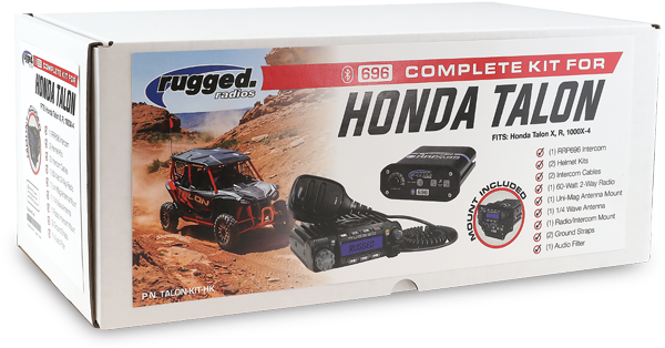 HONDA TALON RUGGED RADIOS COMPLETE KIT The complete communication experience for your UTV. Easily talk to your passengers, communicate with other UTV's, answer calls and stream music through your phone. This kit includes everything you need to take the conversation further.