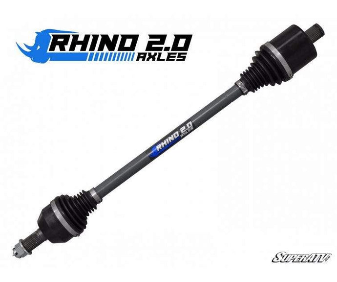 Rhino 2.0 Turbo S RZR Front Axle Rhino 2.0 Axles combine maximized shafts and CVs with heavy-duty 4340 steel that's heat treated for superior strength and longevity. The result is a heavy-duty axle that can handle 40°+ axle angles without binding or overheating and can handle massive torque without breaking.
