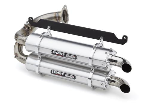 HONDA TALON TRINITY SLIP-ON DUAL EXHAUSTS The Trinity Racing Slip-On Dual Exhaust for the Honda Talon is engineered to offer performance, style and weight reduction in a convenient slip-on exhaust package. Trinity Racing has been producing high end performance exhaust for UTVs for years and their release for the Talon continues that tradition.