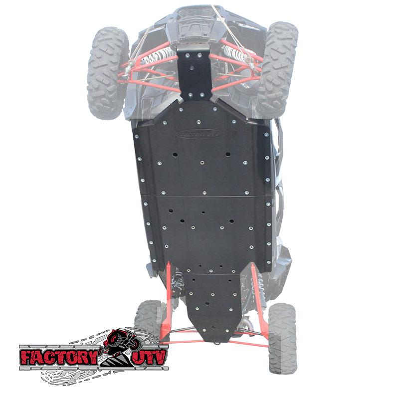Polaris RZR XP4 Factory UTV Skid Plate RZR XP4 1000 Half Inch UHMW Skid Plate. We've got your XP4 1000 covered with Factory UTV's UHMW Skid Plates, the gold standard for UTV protection systems. OEM skid plates simply do not satisfactorily protect
