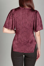 Load image into Gallery viewer, Bell Sleeve Blouse Burgundy