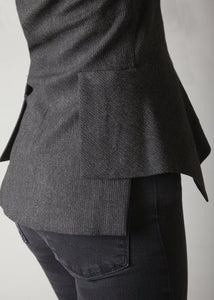 Avery Flannel Blazer Dark Charcoal