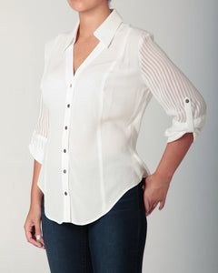 3/4 Sleeve Snap Blouse White