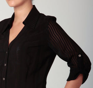 3/4 Sleeve Snap Blouse Black