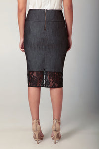 Charcoal Denim Lace Skirt