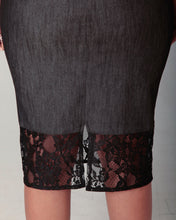 Load image into Gallery viewer, Charcoal Denim Lace Skirt