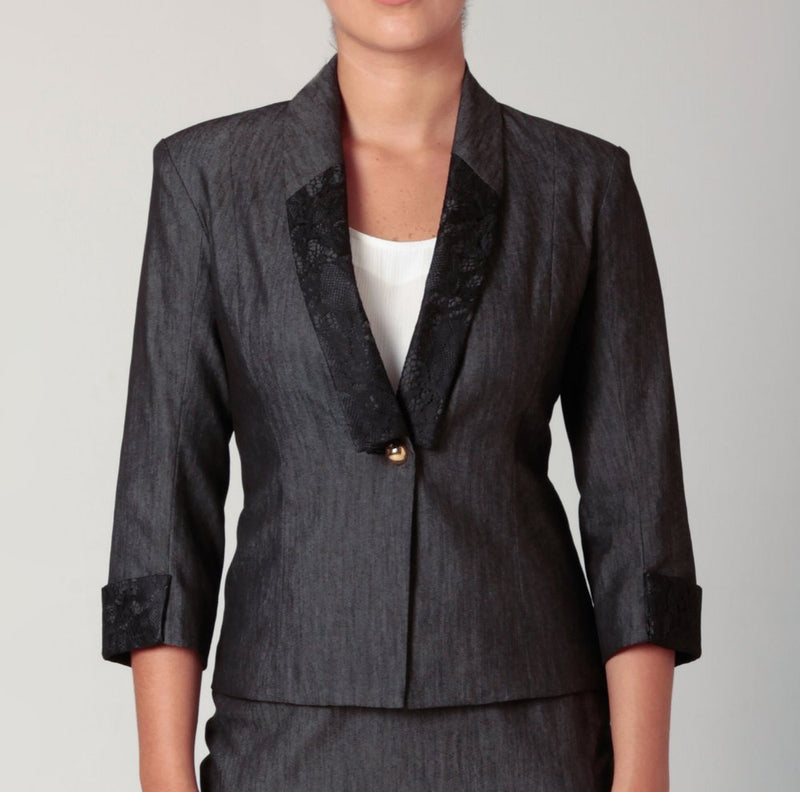 AYSHA Blazer Lace & Denim Charcoal