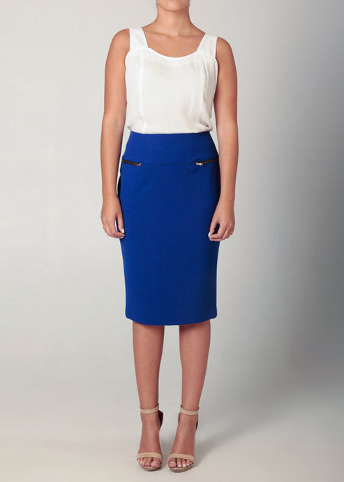 2 Zip Pencil Skirt Cobalt Blue