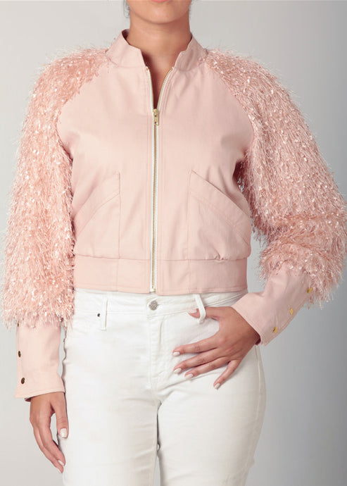 Pink Fringe Crop Jacket
