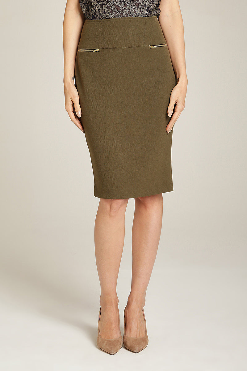 2 Zip Pencil Skirt Olive Green