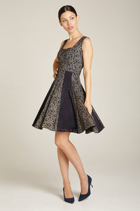 Tiffany Dress Navy Blue & Gold