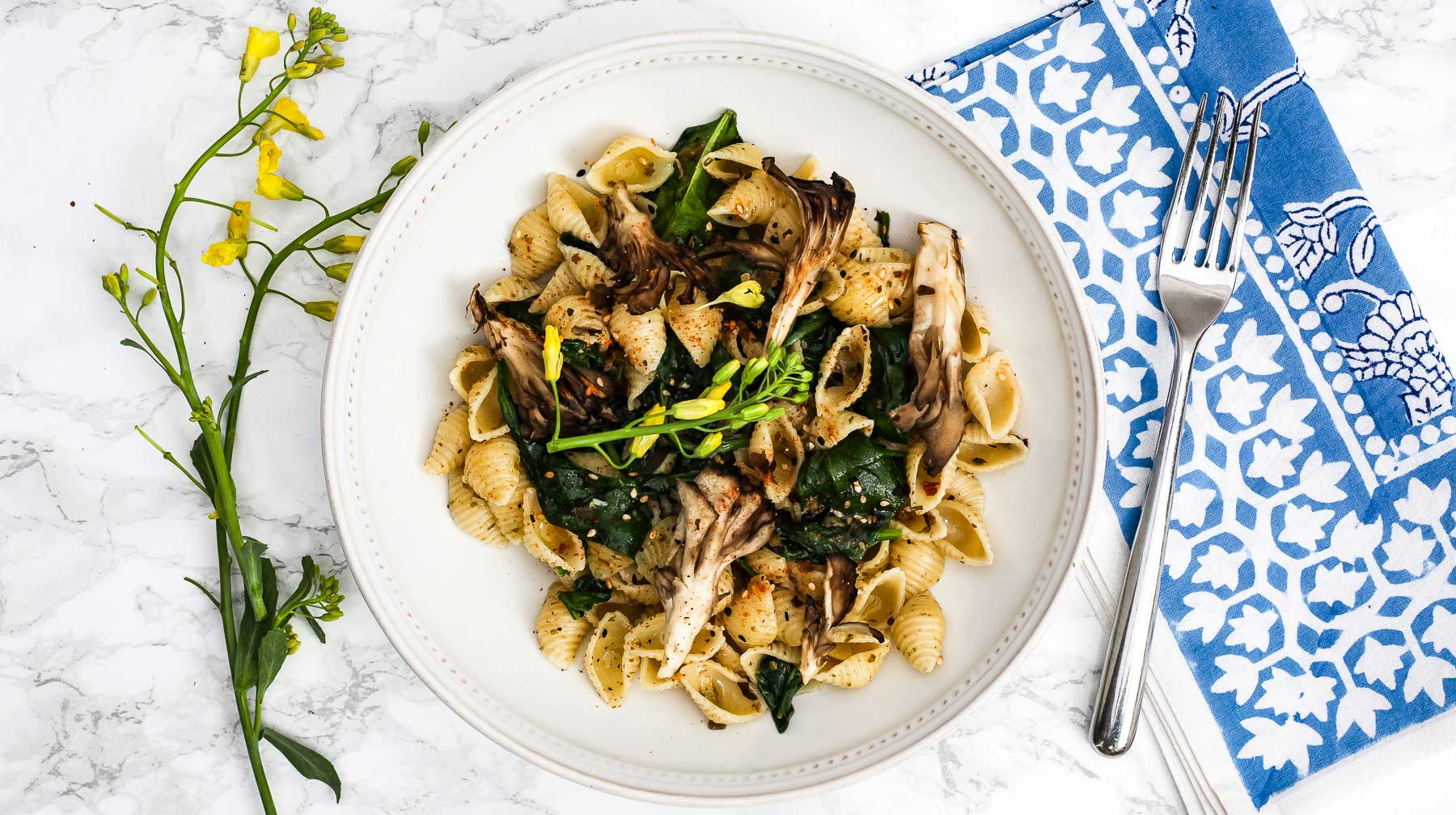 Vegan Pasta with Seaweed and Maitake
