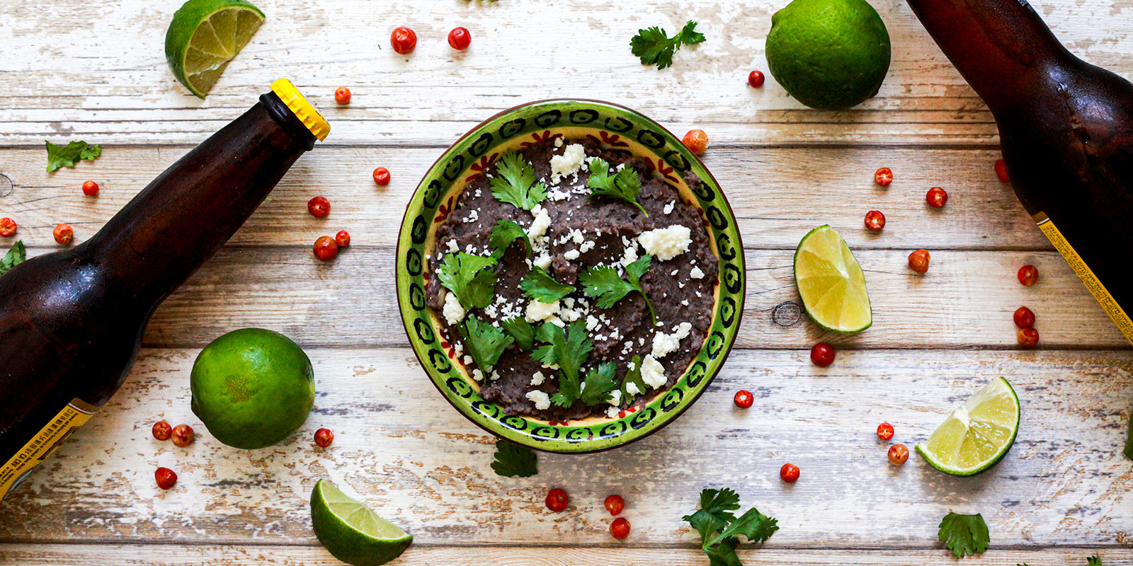 Spicy black bean dip with black tepary beans