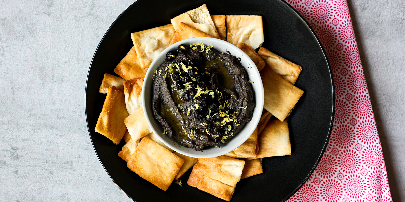 Hummus Noir with Black Garbanzo Beans