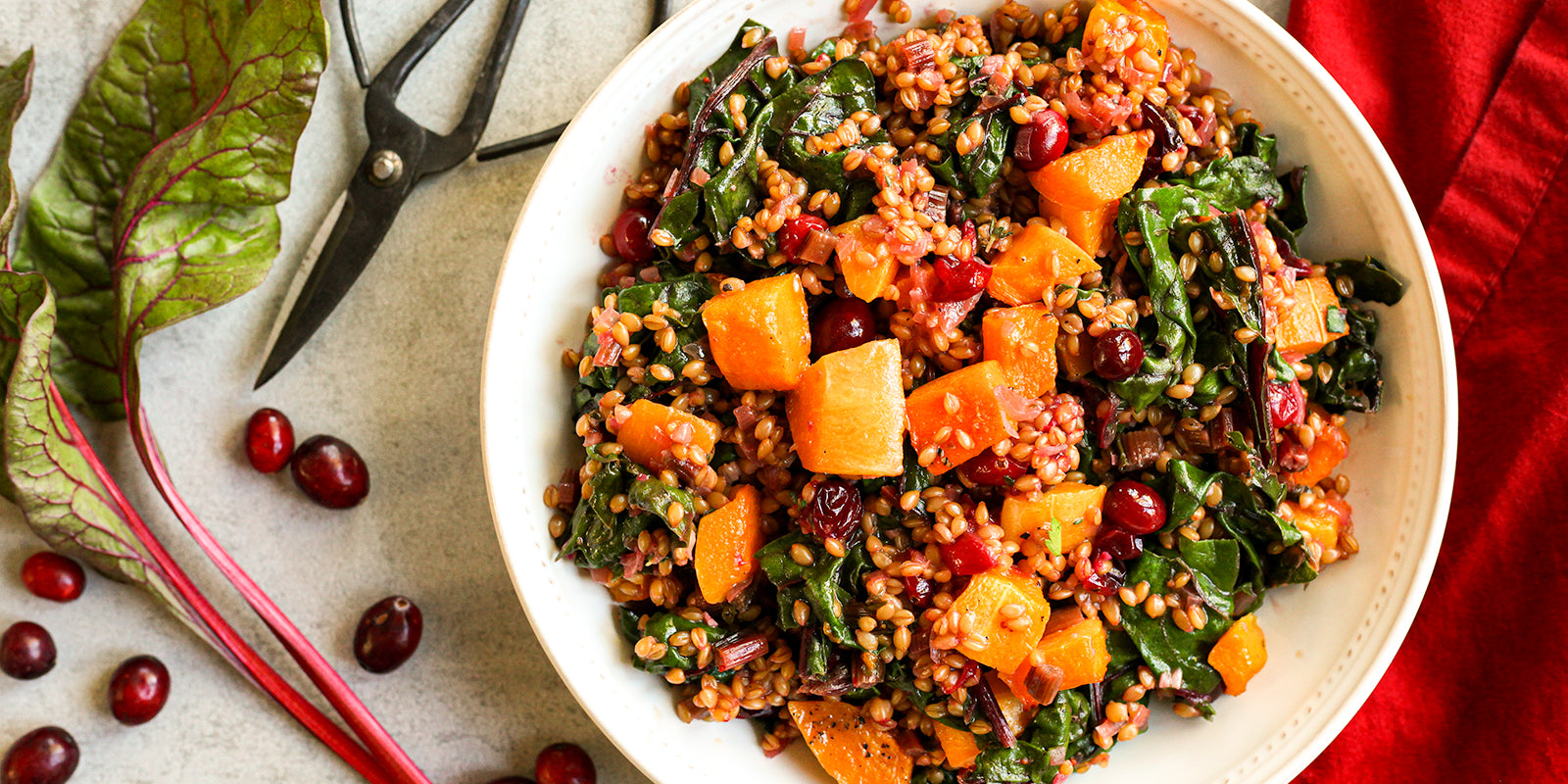 Warm Einkorn, Chard and Butternut Squash Salad
