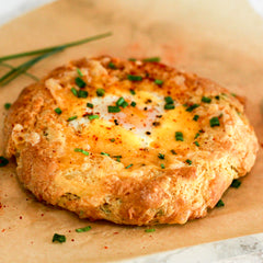egg stuffed cheddar and chive scone