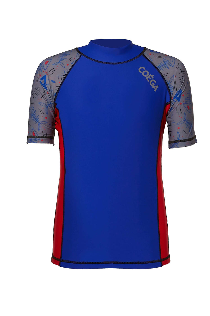 Coega Boys Youth Rashguard - Short Sleeve Blue Fish / 10 Sun Protective Swimwear