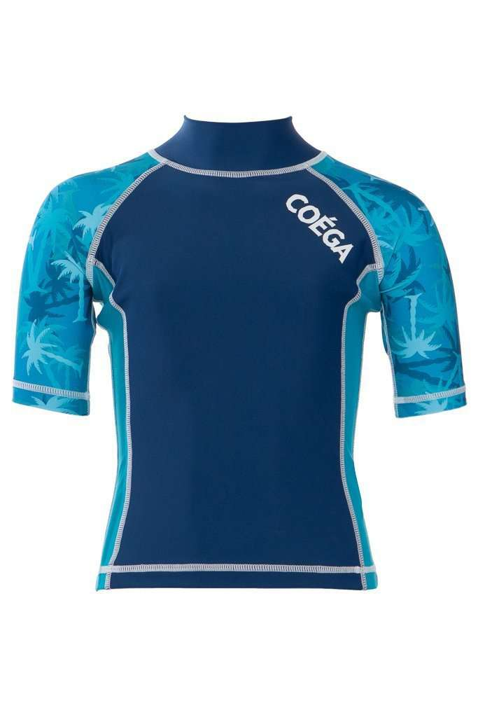 Coega Boys Kids Rashguard - Short Sleeve Teal Palm Trees / 4 Sun Protective Swimwear
