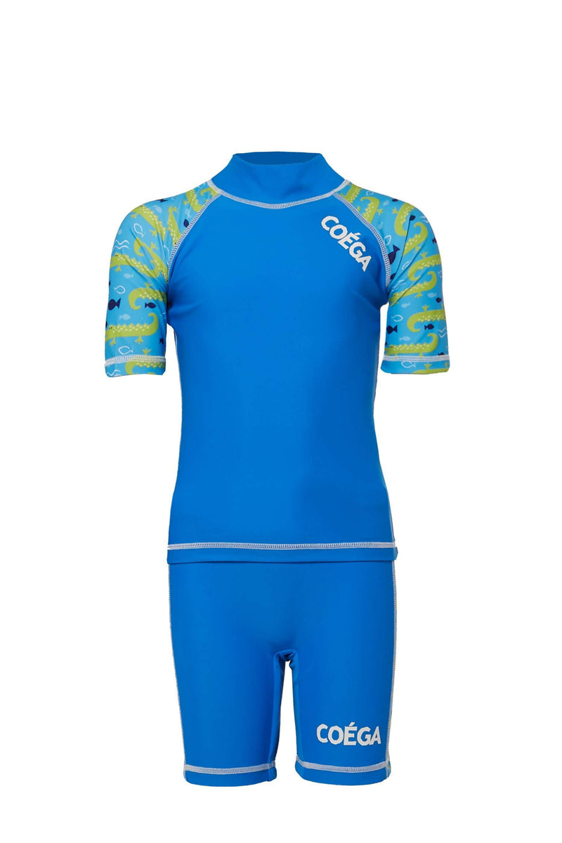 Coega Boys Kids Swim Suit - Two Piece Mid-Blue Crocs / 4 Sun Protective Swimwear