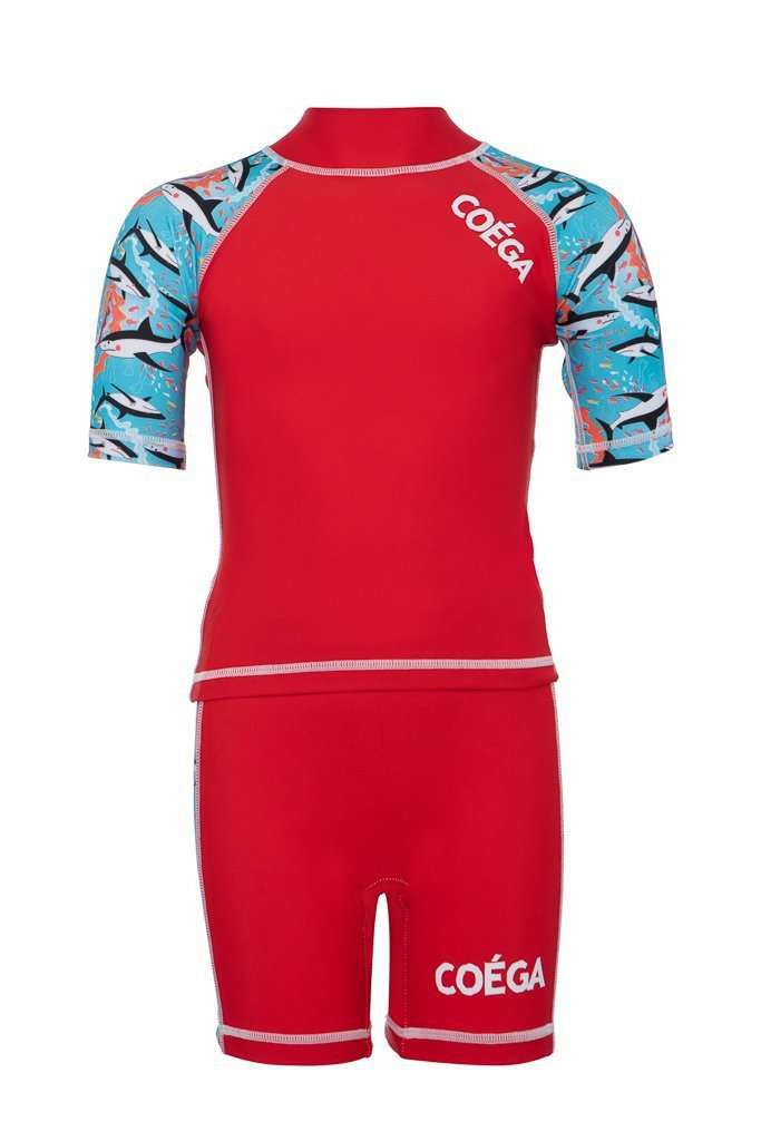 Coega Boys Kids Swim Suit - Two Piece Red Sharks / 4 Sun Protective Swimwear