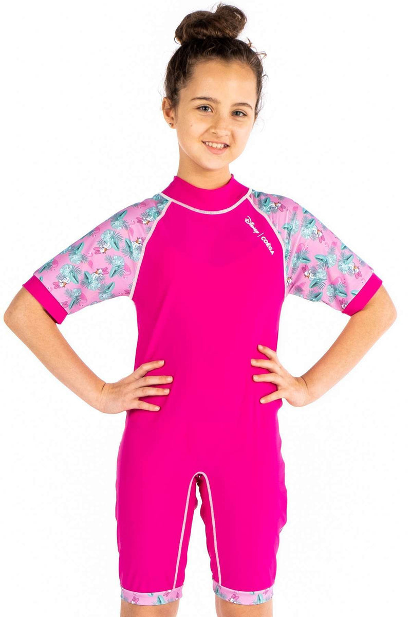 Coega Disney Girls Youth Swim Suit - One Piece Pink Daisy Duck / 10 Sun Protective Swimwear