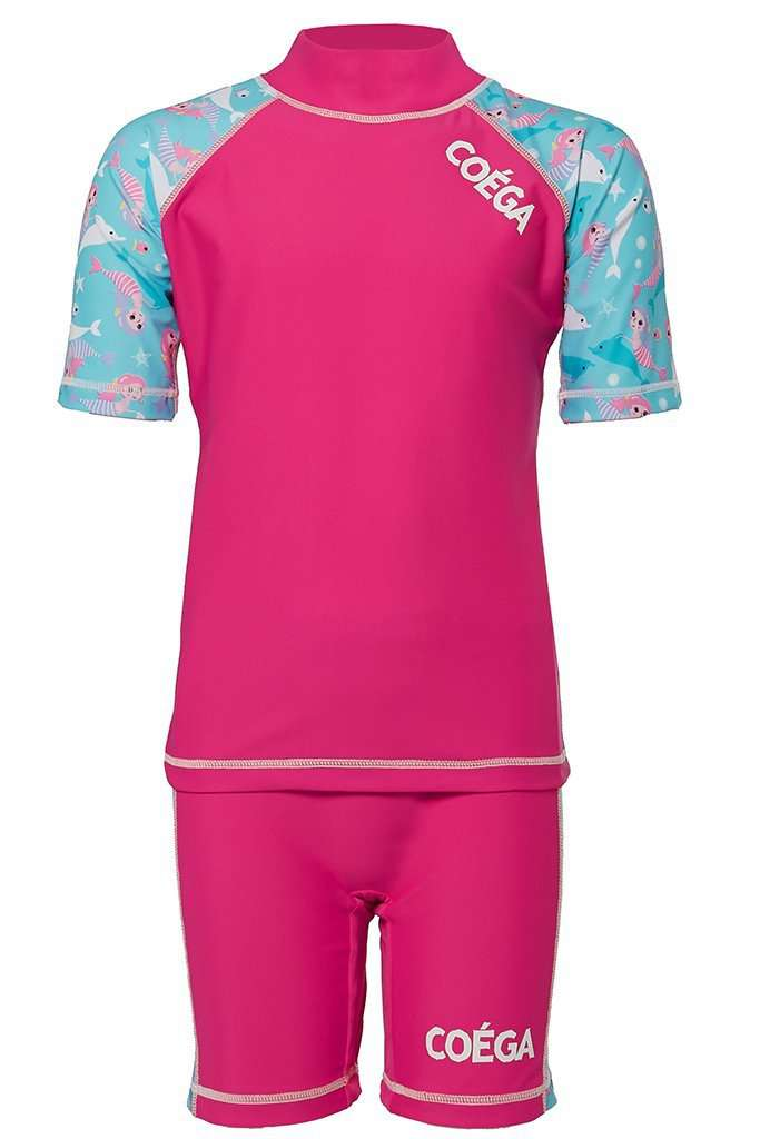 Coega Girls Kids Swim Suit - Two Piece Pink Mermaids / 4 Sun Protective Swimwear