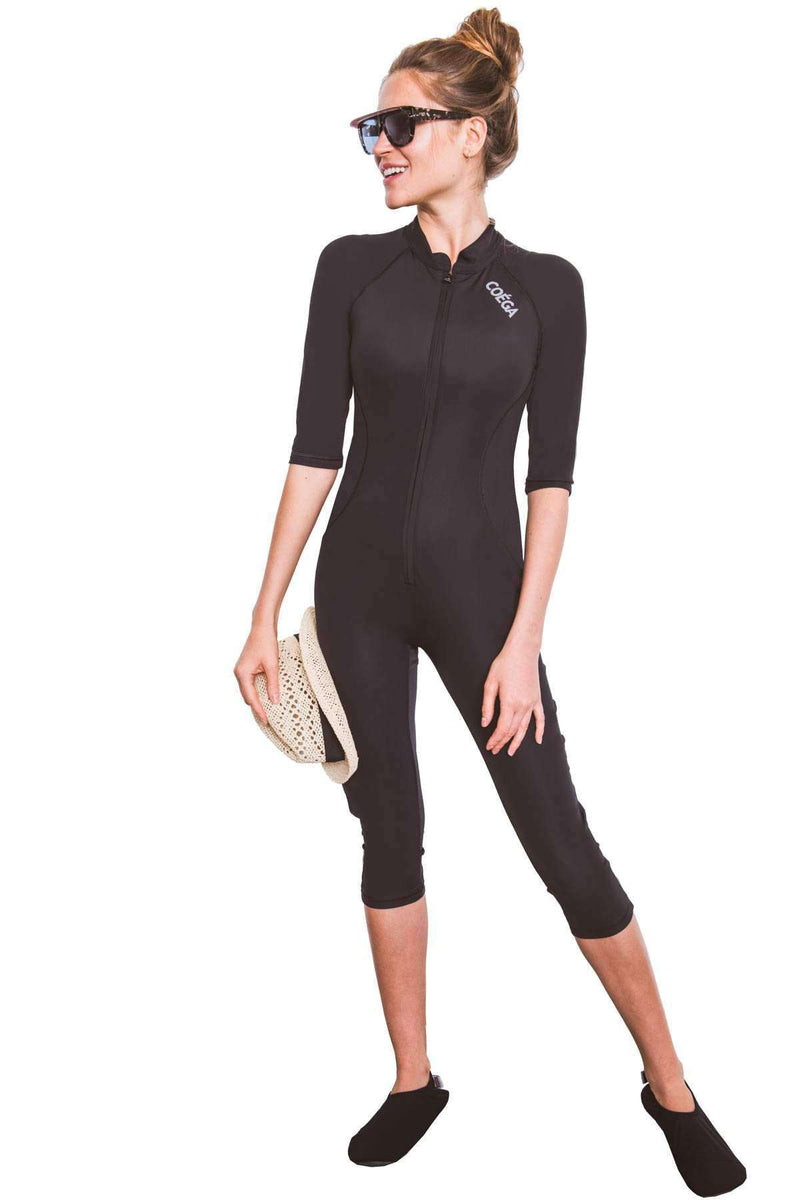 COEGA Ladies SlimKini - 3/4 Length (Size 6; Black Color)