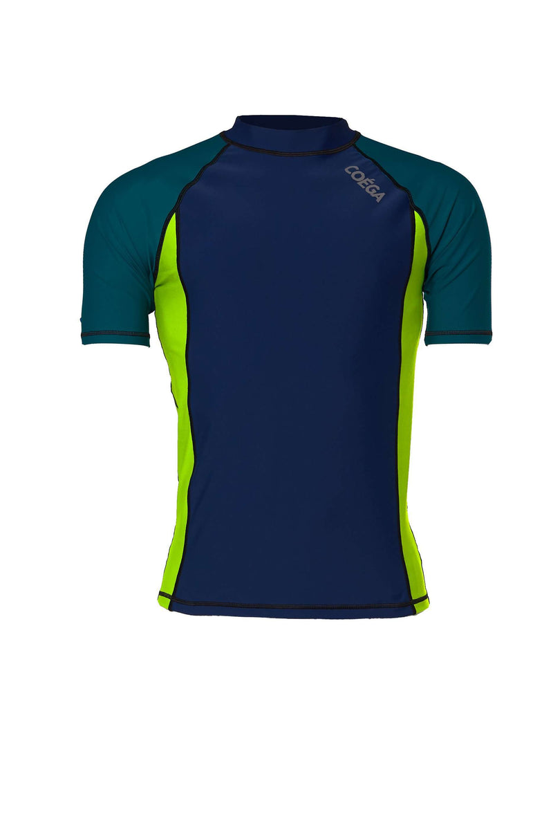 Coega Mens Rashguard - Short Sleeve Navy Color Block / S Sun Protective Swimwear