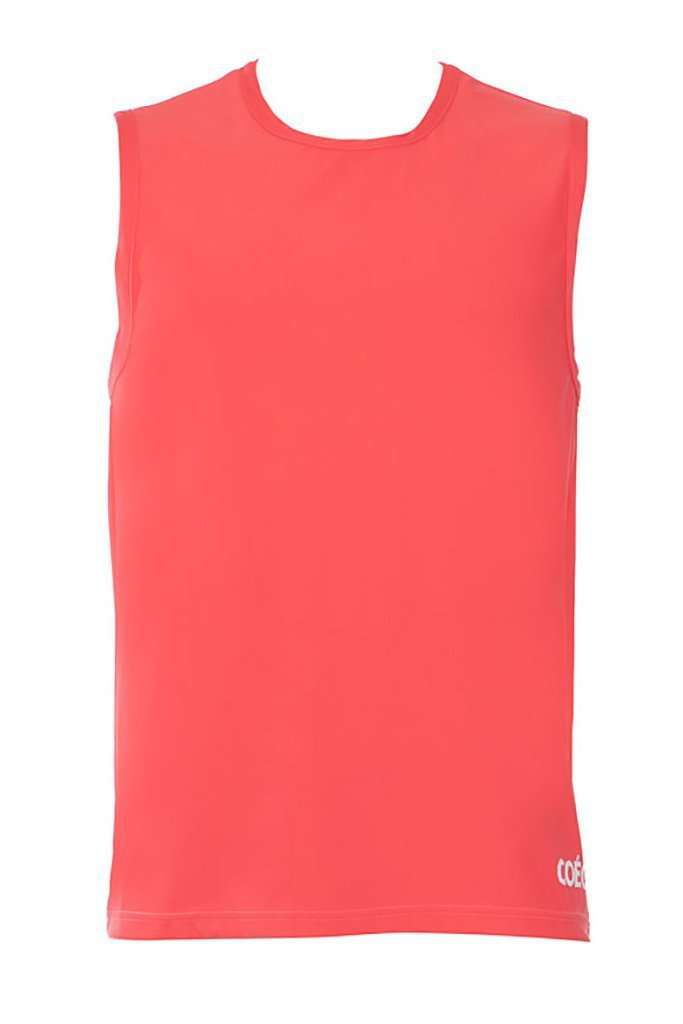 Coega Mens Rashguard - Sleeveless Coral Color Block / S Sun Protective Swimwear