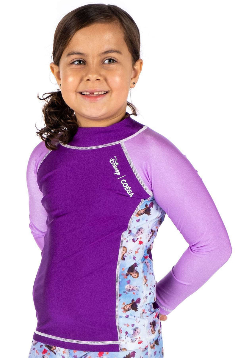 Coega Disney Girls Kids Rashguard - Long Sleeve Purple Frozen / 4 Sun Protective Swimwear
