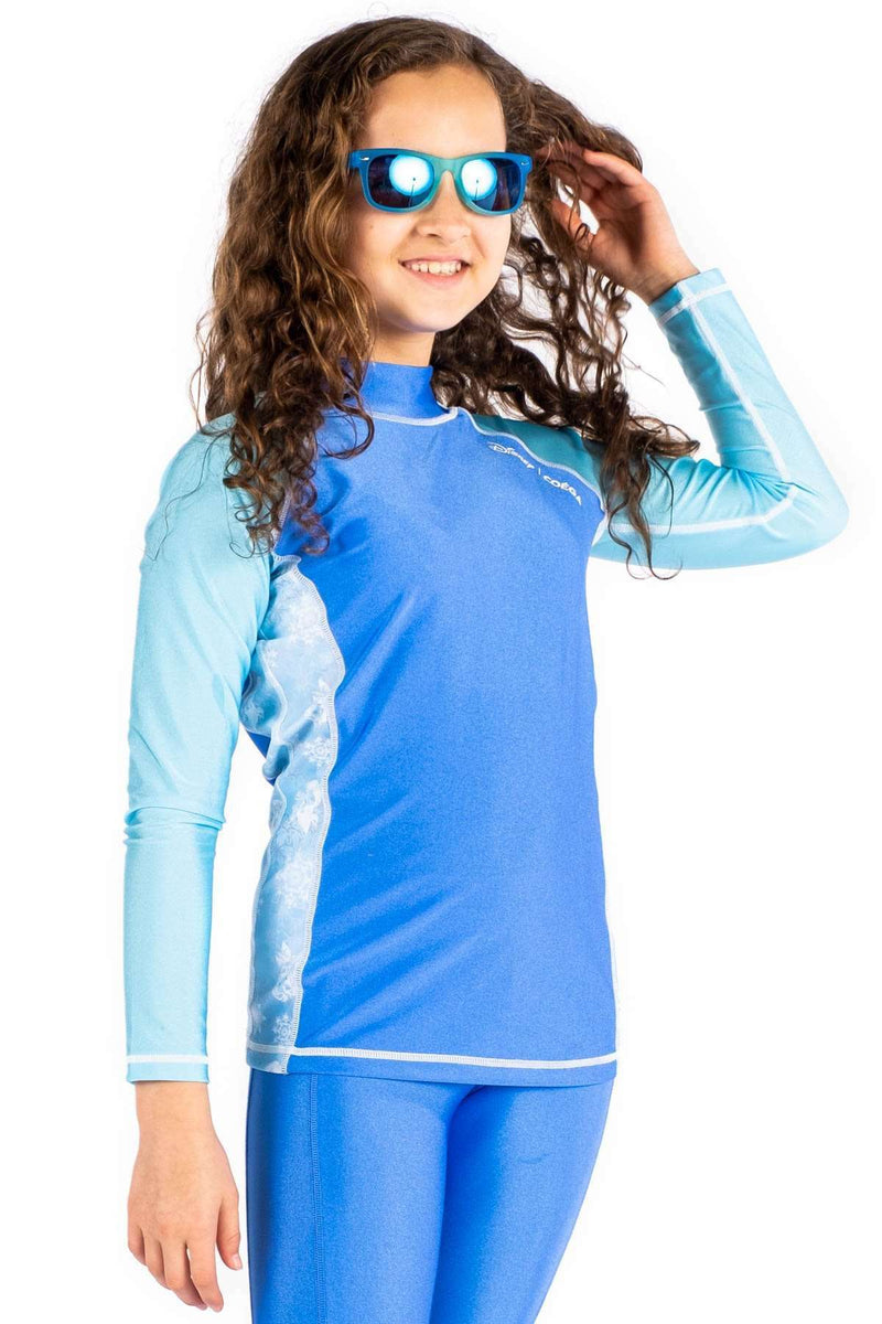 Coega Disney Girls Youth Rashguard - Long Sleeve Lavender Frozen / 10 Sun Protective Swimwear