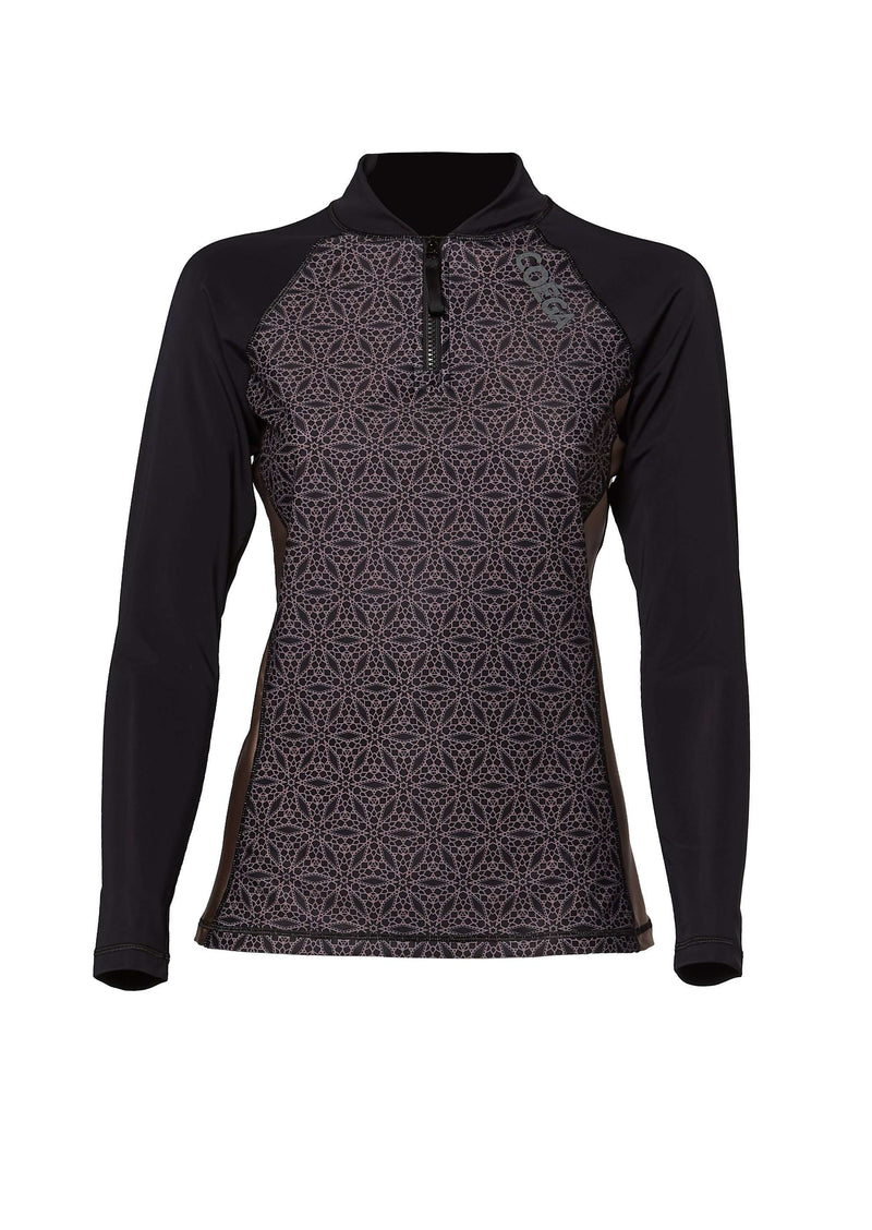 Coega Ladies Rashguard - Long Sleeve With Zip Black Geometric / 6 Sun Protective Swimwear