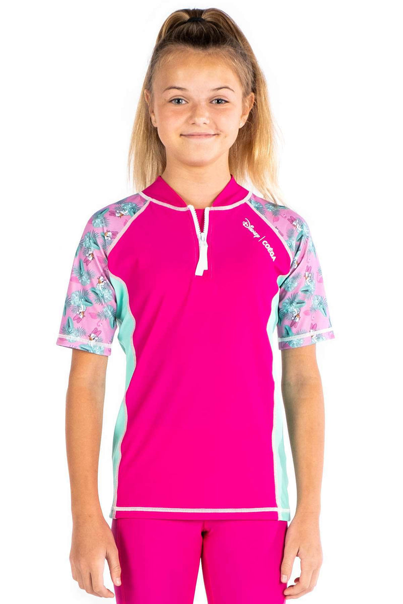 COEGA Disney Girls Youth Rashguard - Short Sleeve with Zip