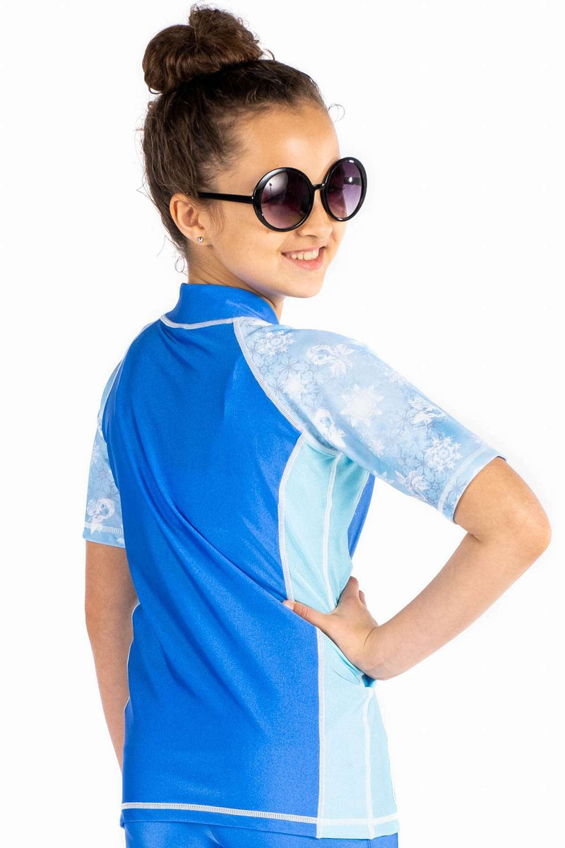 Coega Disney Girls Youth Rashguard - Short Sleeve With Zip Sun Protective Swimwear