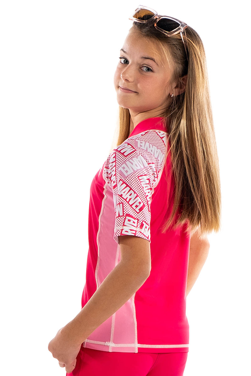 COEGA Marvel Girls Youth Rashguard - Short Sleeve with Zip