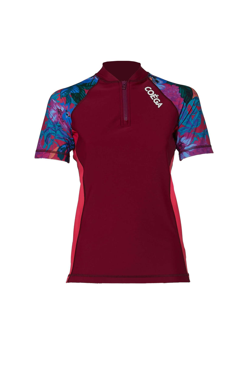 Coega Ladies Rashguard - Short Sleeve With Zip Deep Magenta Floral / 6 Sun Protective Swimwear