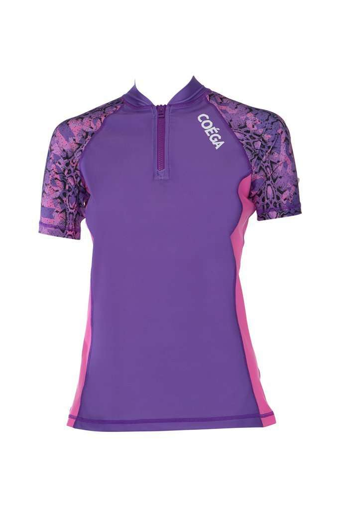Coega Ladies Rashguard - Short Sleeve With Zip Violet Snake / 6 Sun Protective Swimwear