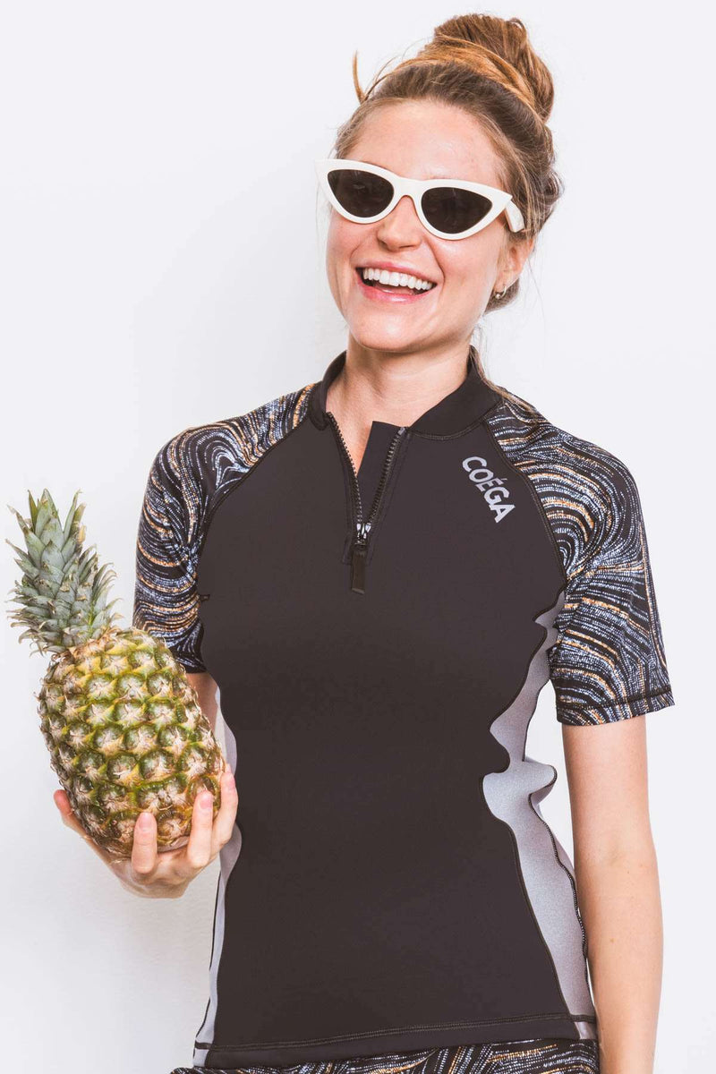 COEGA Ladies Rashguard - Short Sleeve with Zip