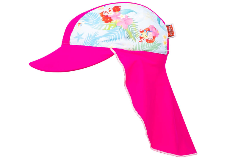 Coega Disney Kids/youth Flap Hat Pink Little Mermaid Sun Protective Headwear