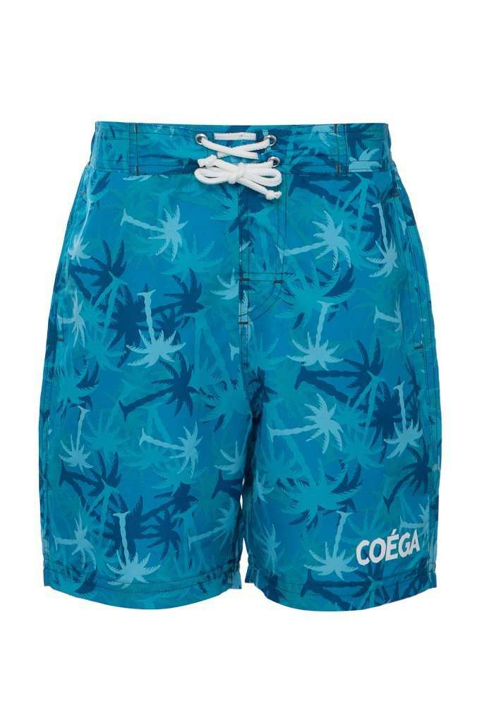 Coega Boys Kids Board Shorts Teal Palm Trees / 4 Sun Protective Swimwear